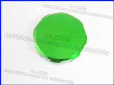 Aluminium brake reservoir cover, green alloy top, suzuki, yamaha, kawasaki